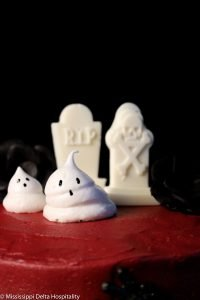 ghost meringues and white chocolate tombstones