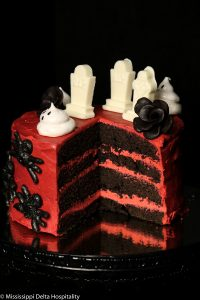 devils food cake cut open