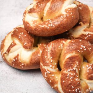 pizza dough pretzels stacked on each other