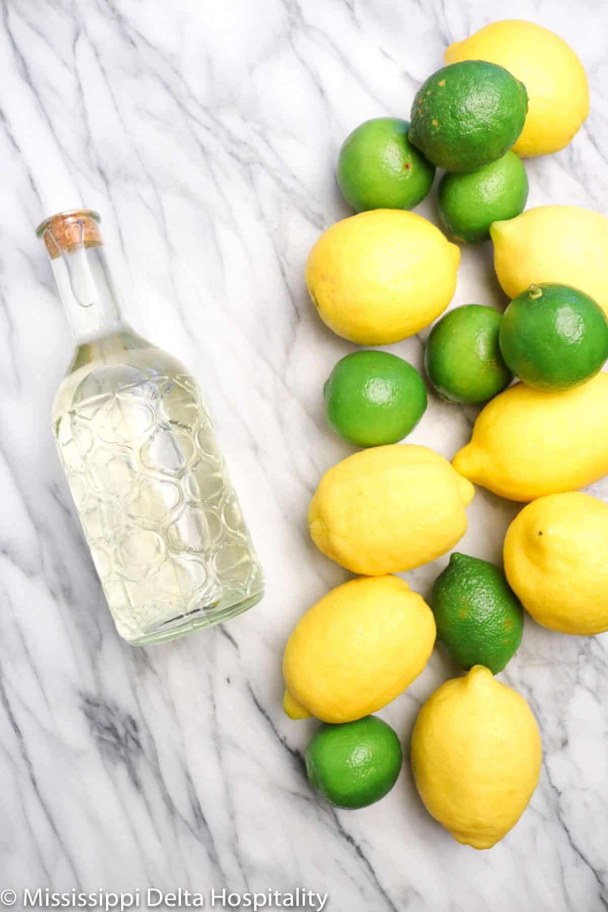 a jar of simple syrup with lemons and limes on a marble board