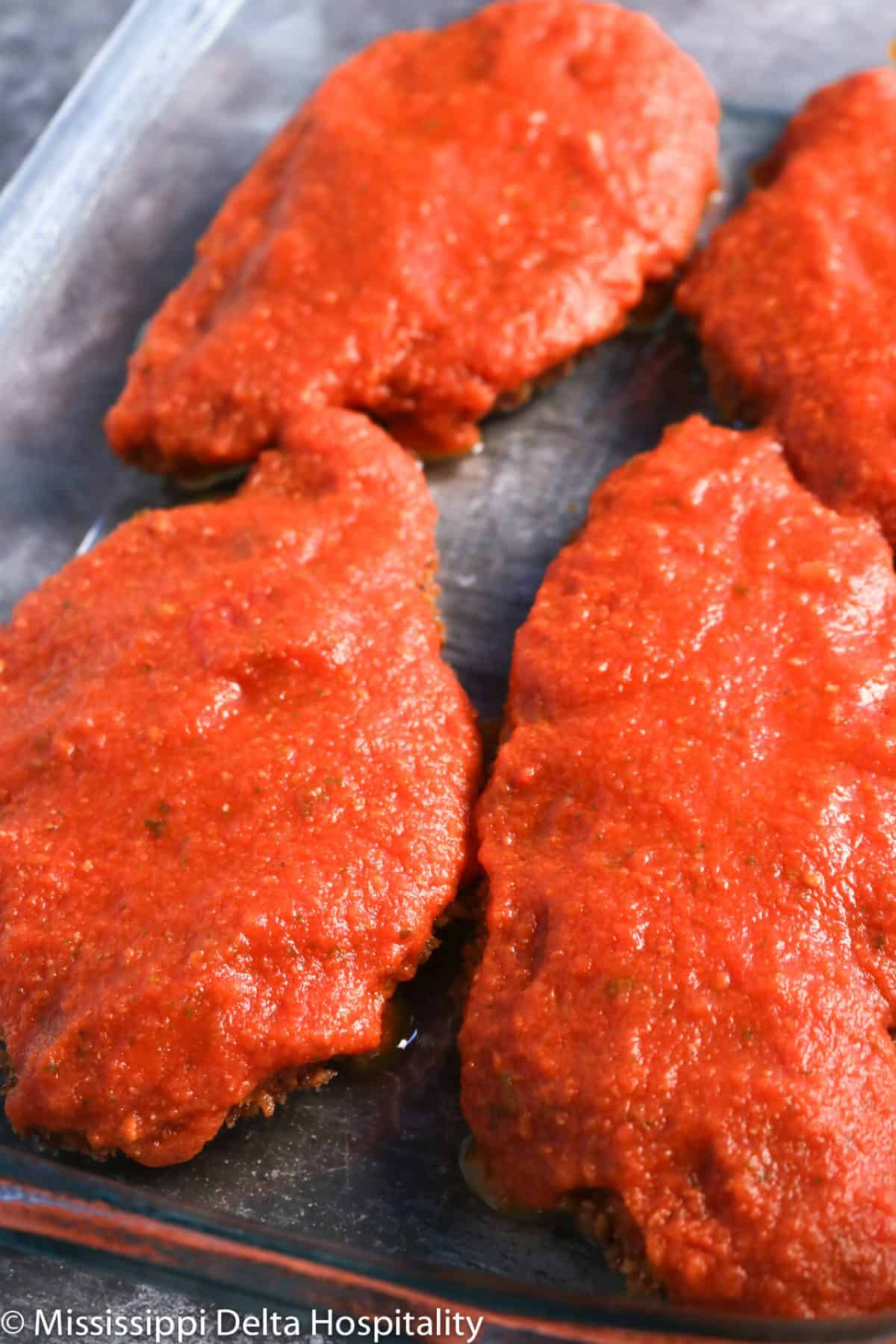 chicken cutlets with tomato sauce