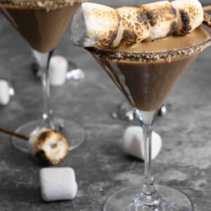 two martini glasses with toasted marshmallows on a concrete board
