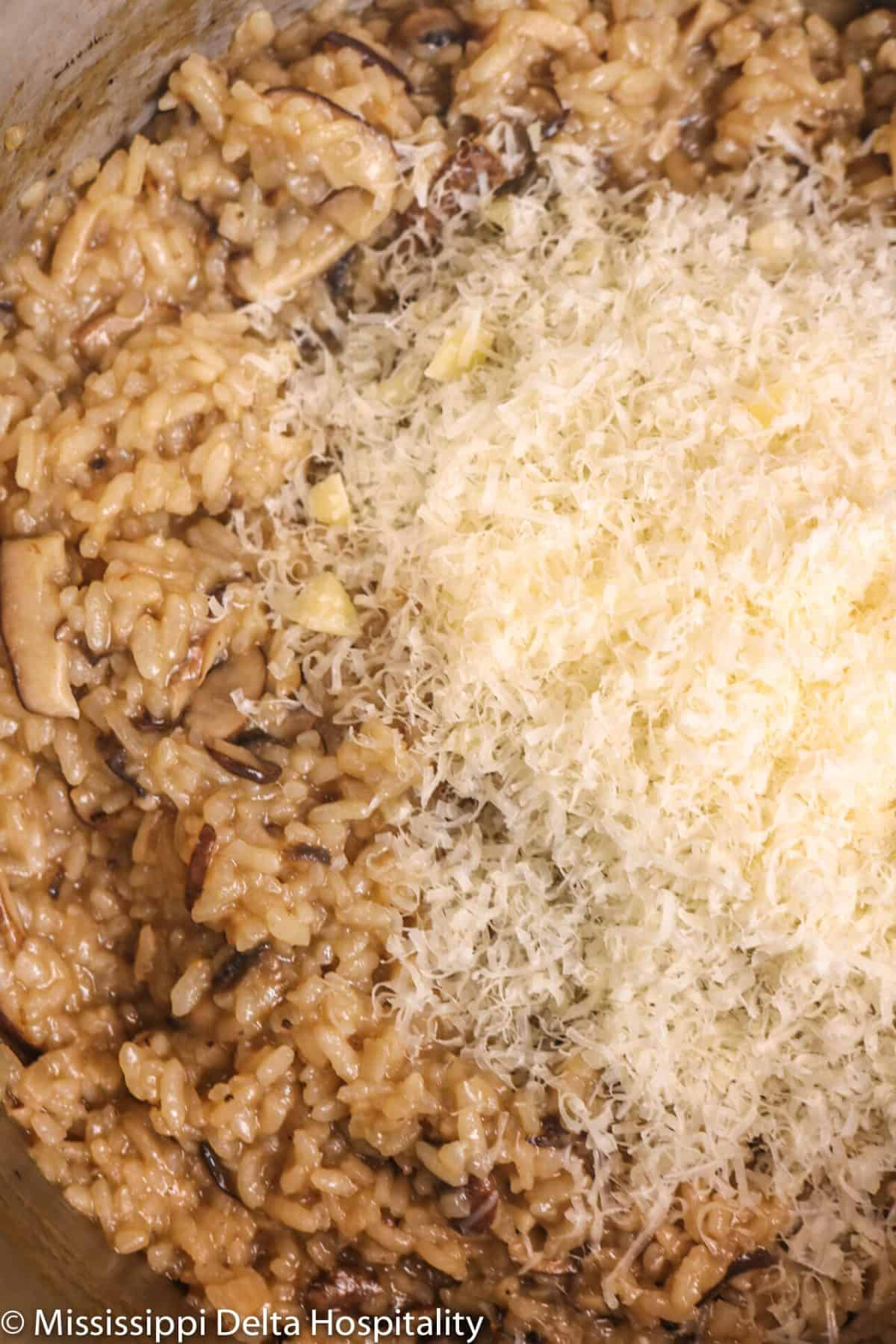 grated parmesan cheese on top of mushroom risotto