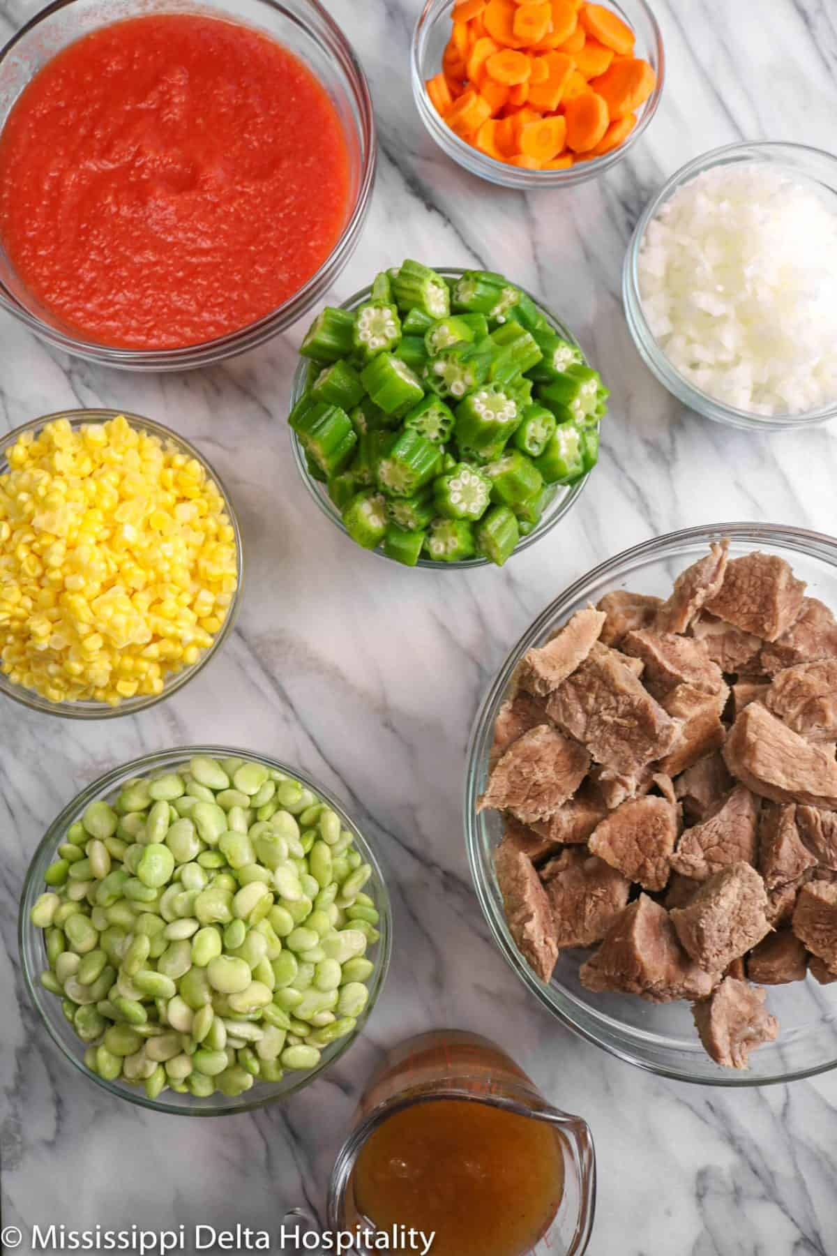 ingredients for vegetable beef soup