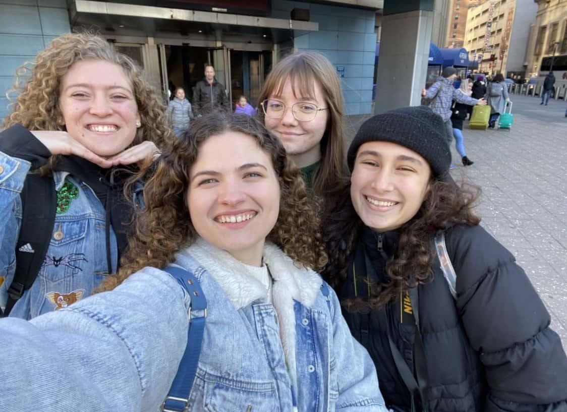 four girls taking a selfie in new york