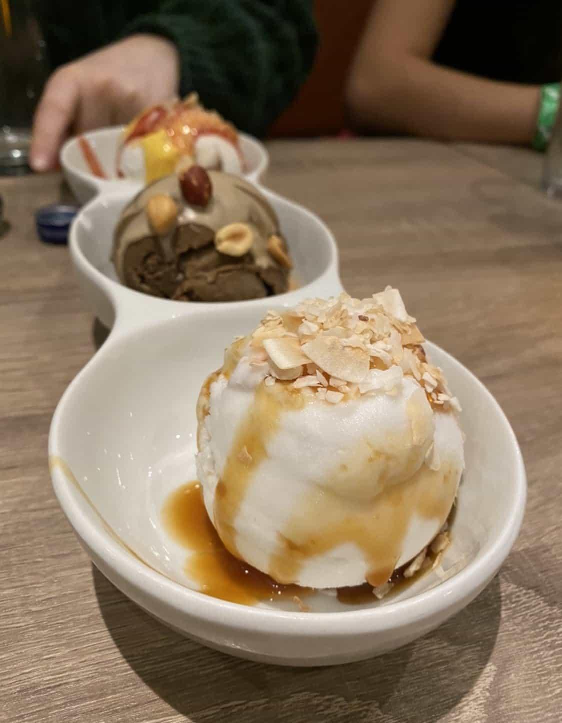 coconut, chocolate, and vanilla vegan ice cream