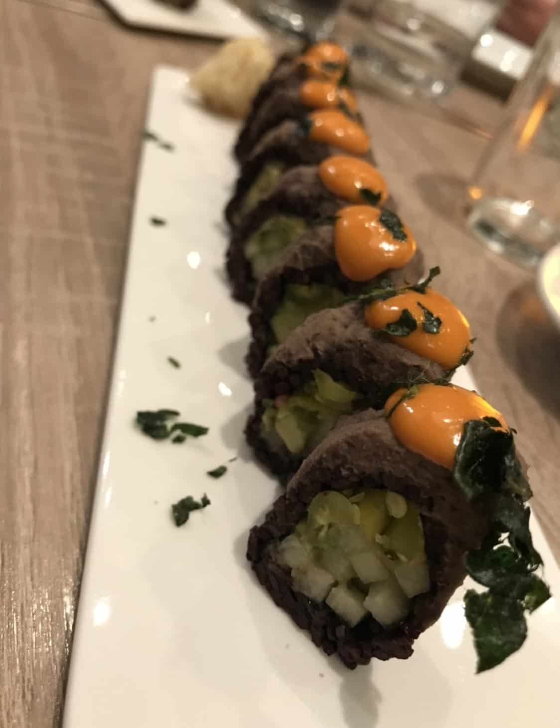 vegan sushi on a white plate