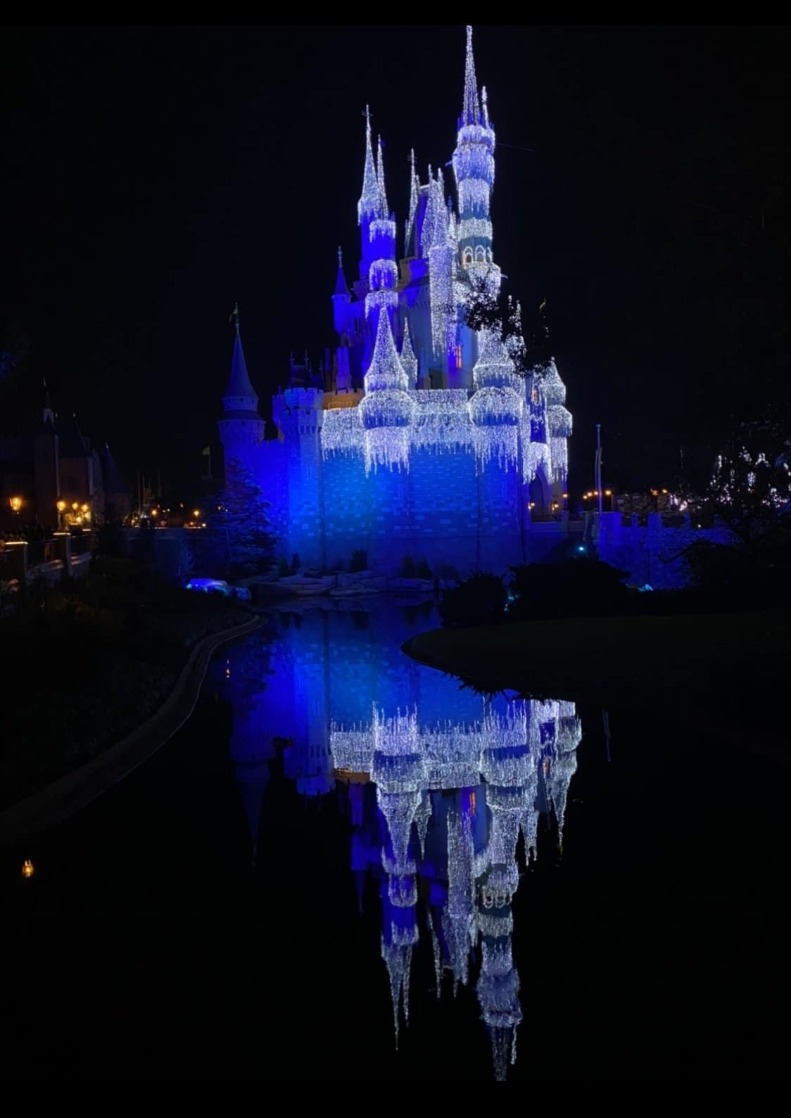 cinderella castle with reflection in the lake