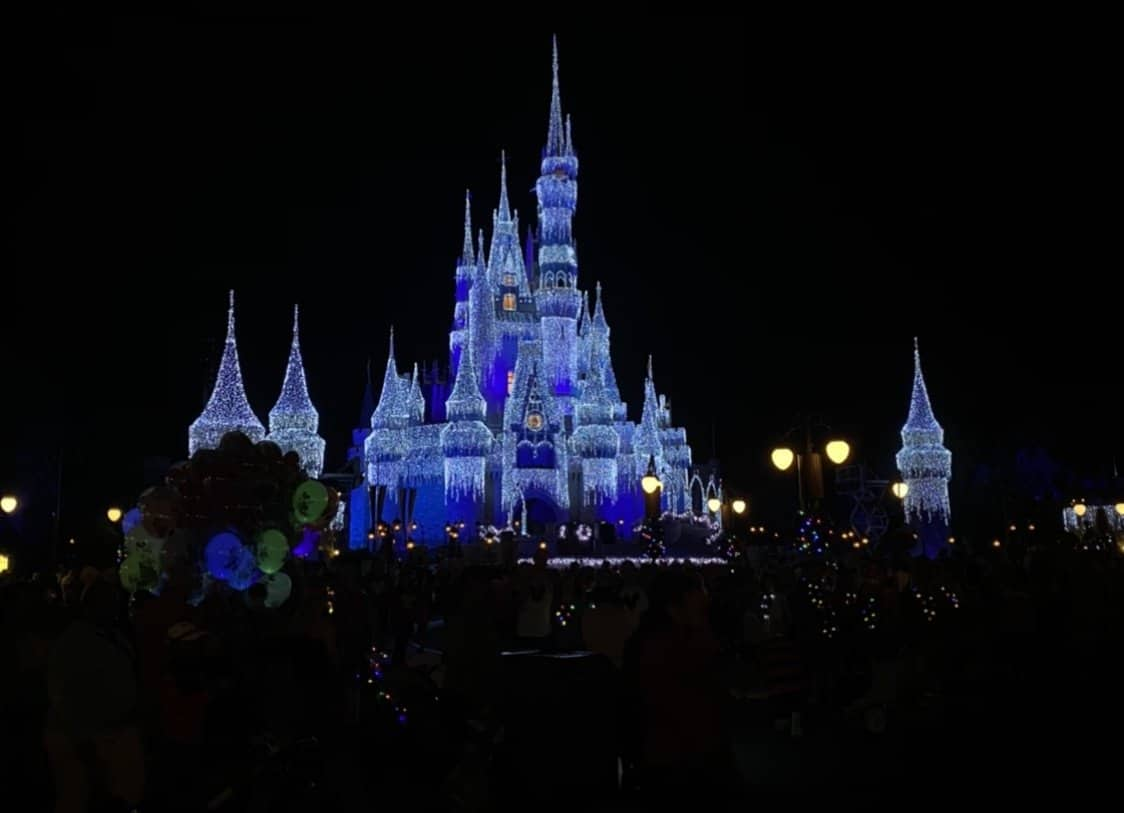 cinderella castle lit up at night