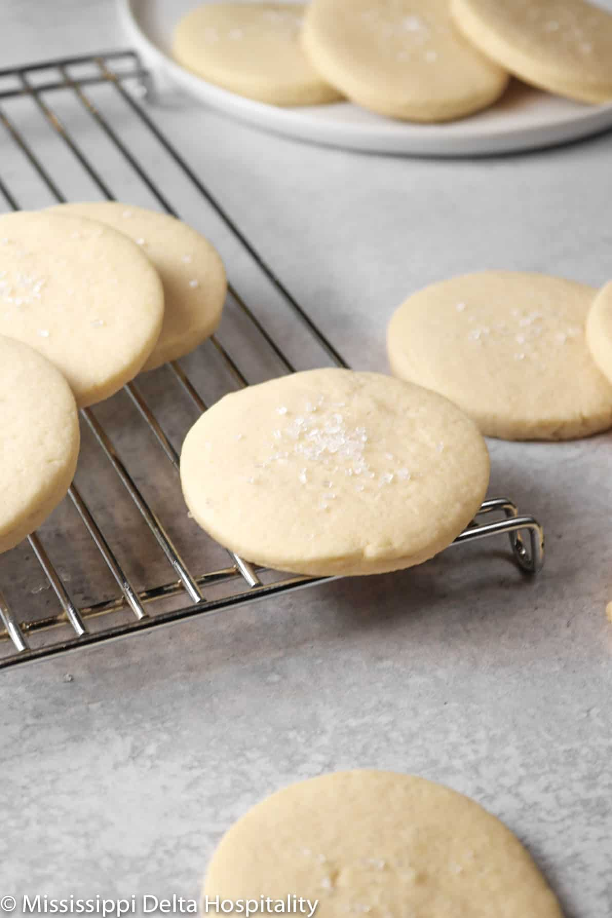 sugar cookies on a cooling rack with a plate of cookies behind it