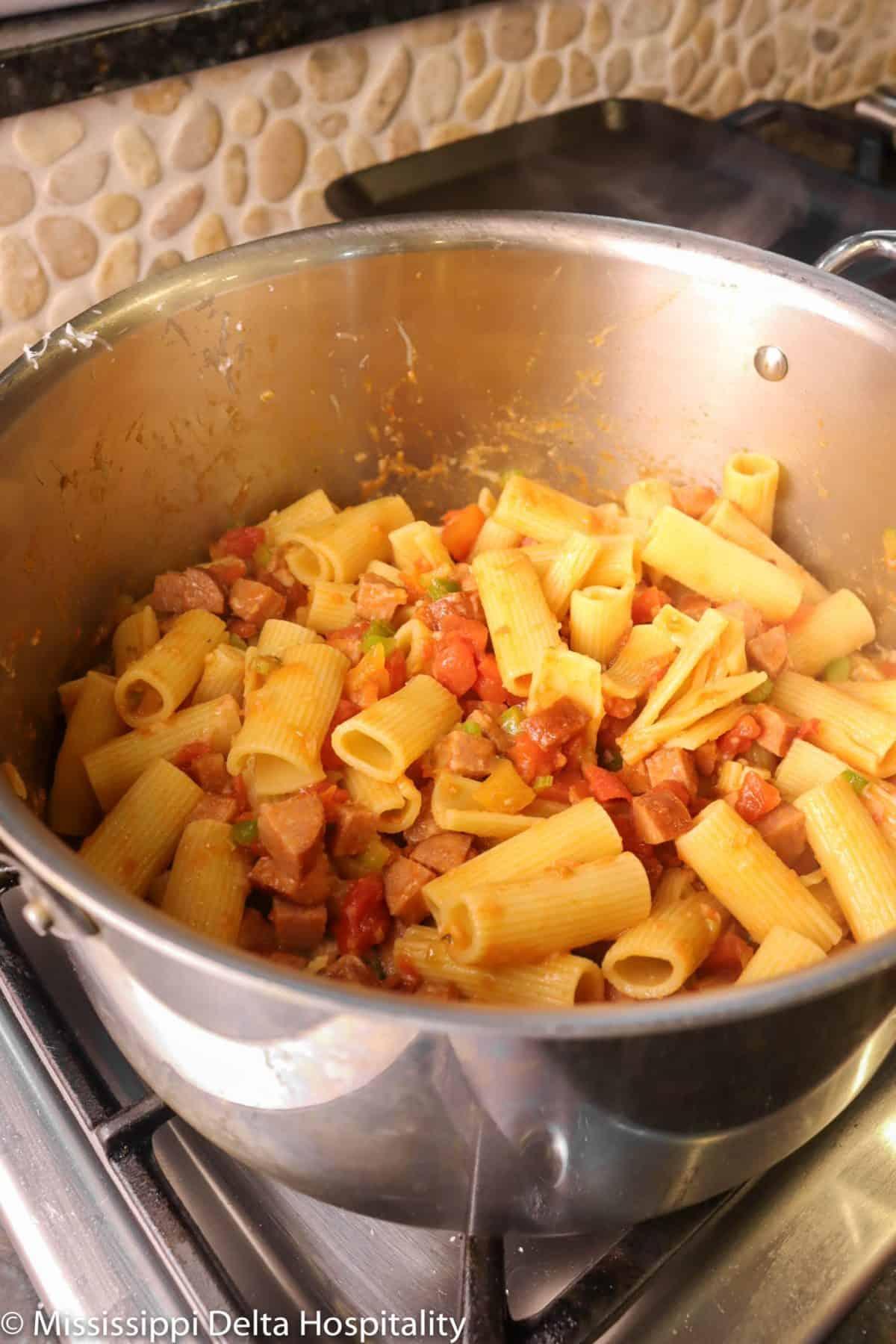 rigatoni mixture in a pot