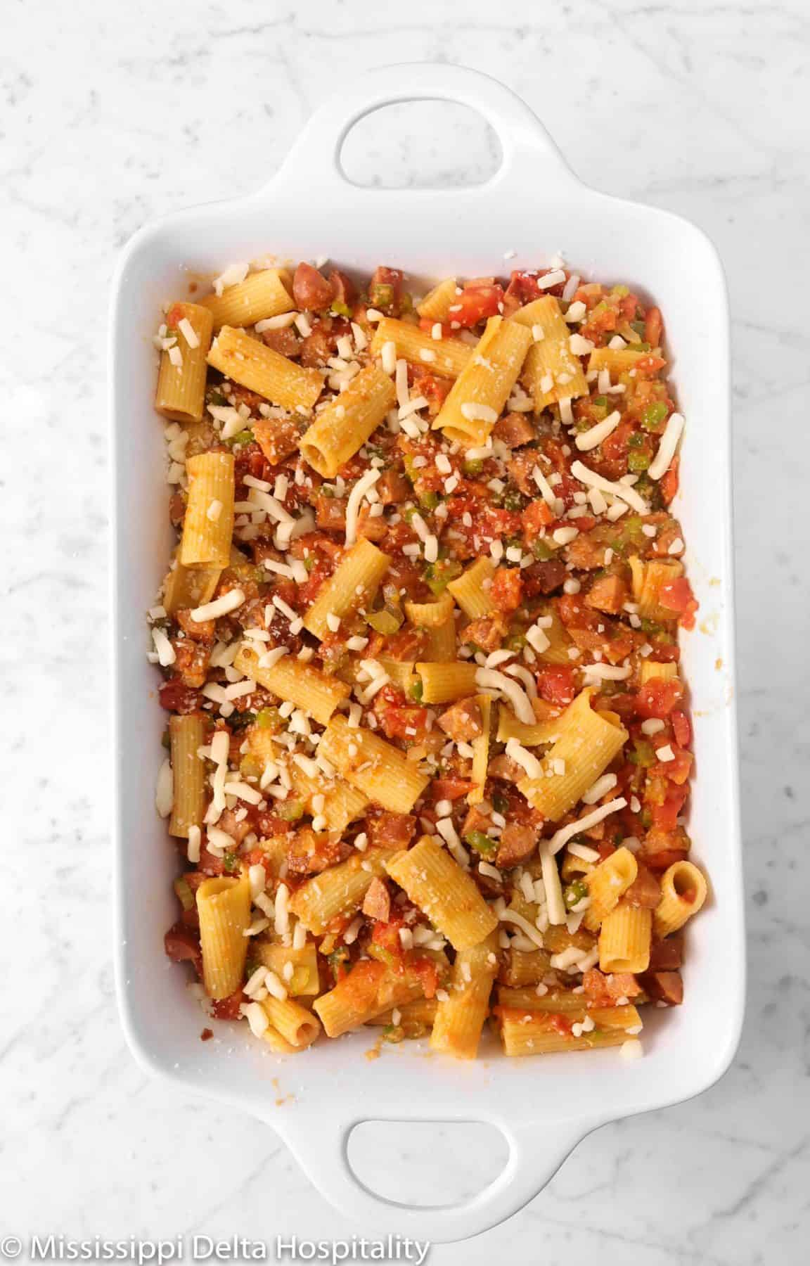 cheese added to rigatoni mixture