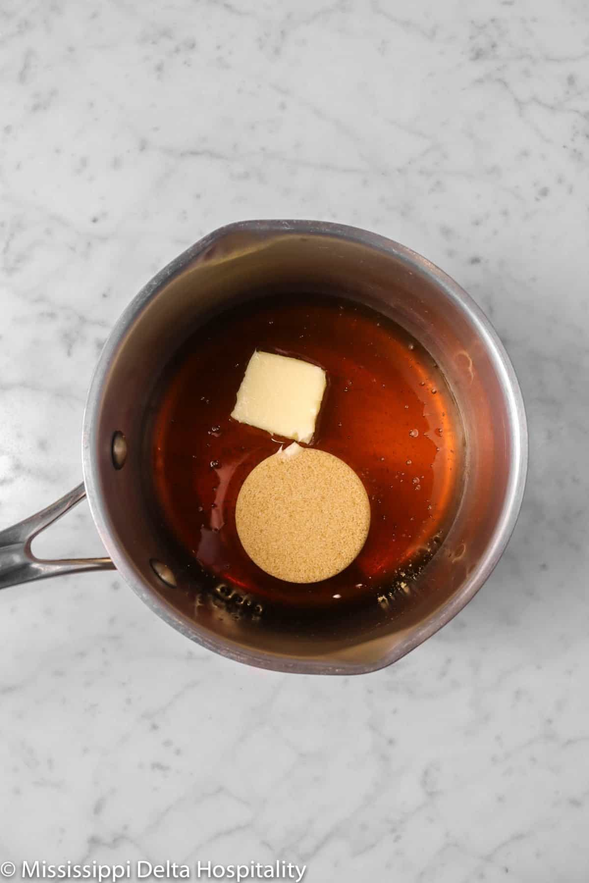 honey, butter, and brown sugar in a sauce pot
