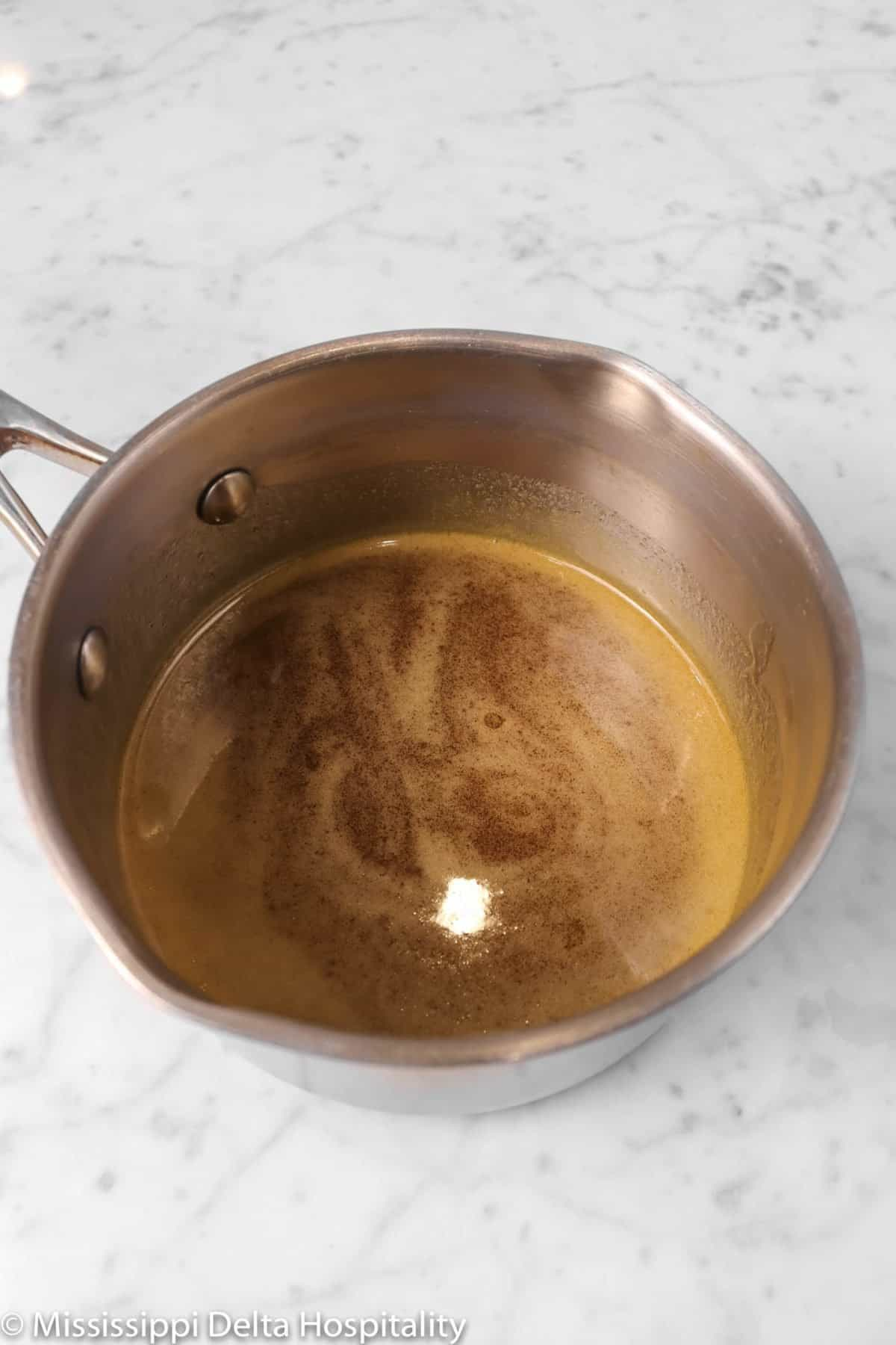honey, butter, and brown sugar melted in a small pot
