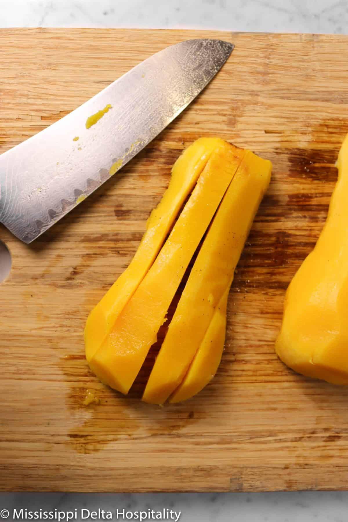butternut squash cut lengthwise
