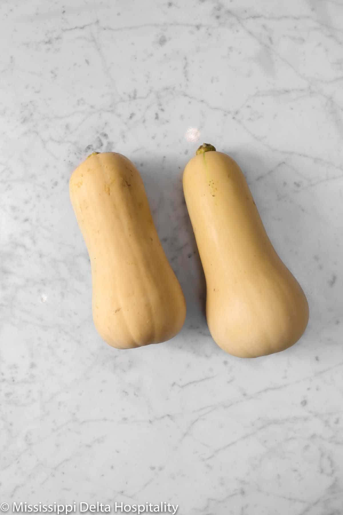 two small butternut squash on a marble board