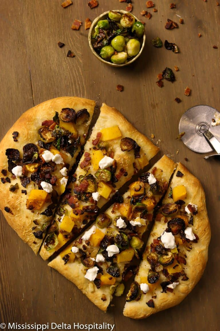 Roasted Butternut Squash and Brussel Sprout Flatbread