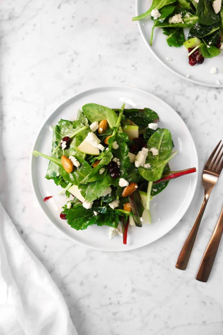 Apple Almond and Cranberry Super Green Salad