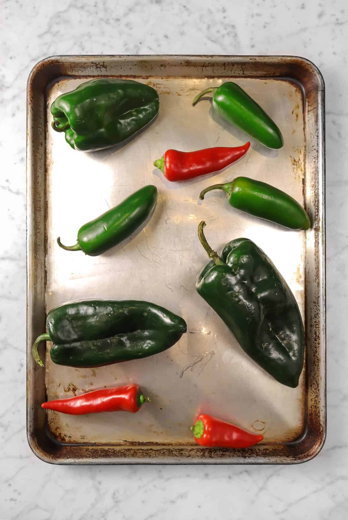 peppers on a baking sheet
