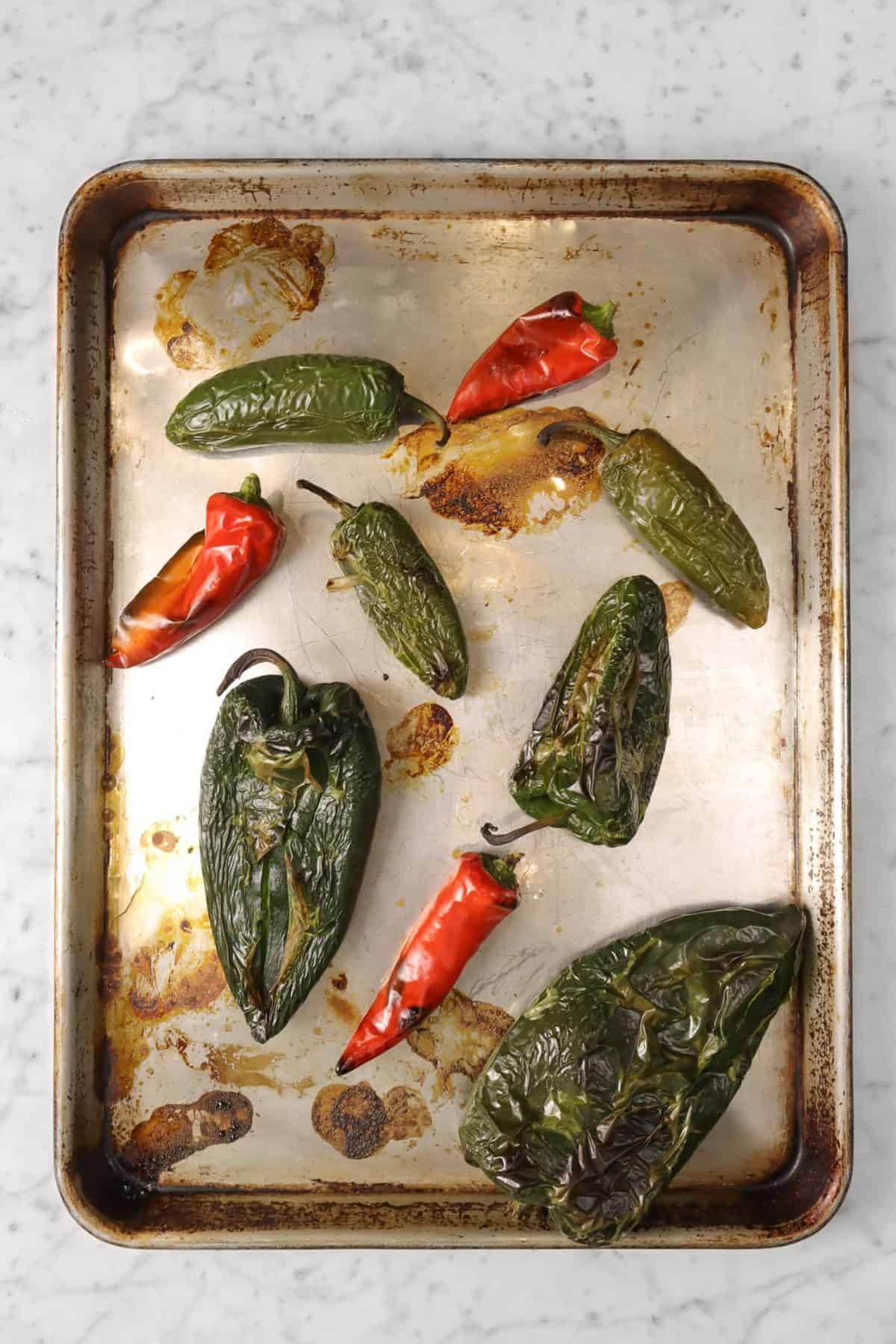 peppers roasted on a baking sheet