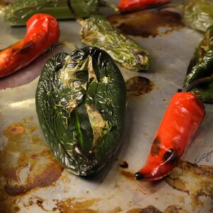 roasted peppers on a sheet pam
