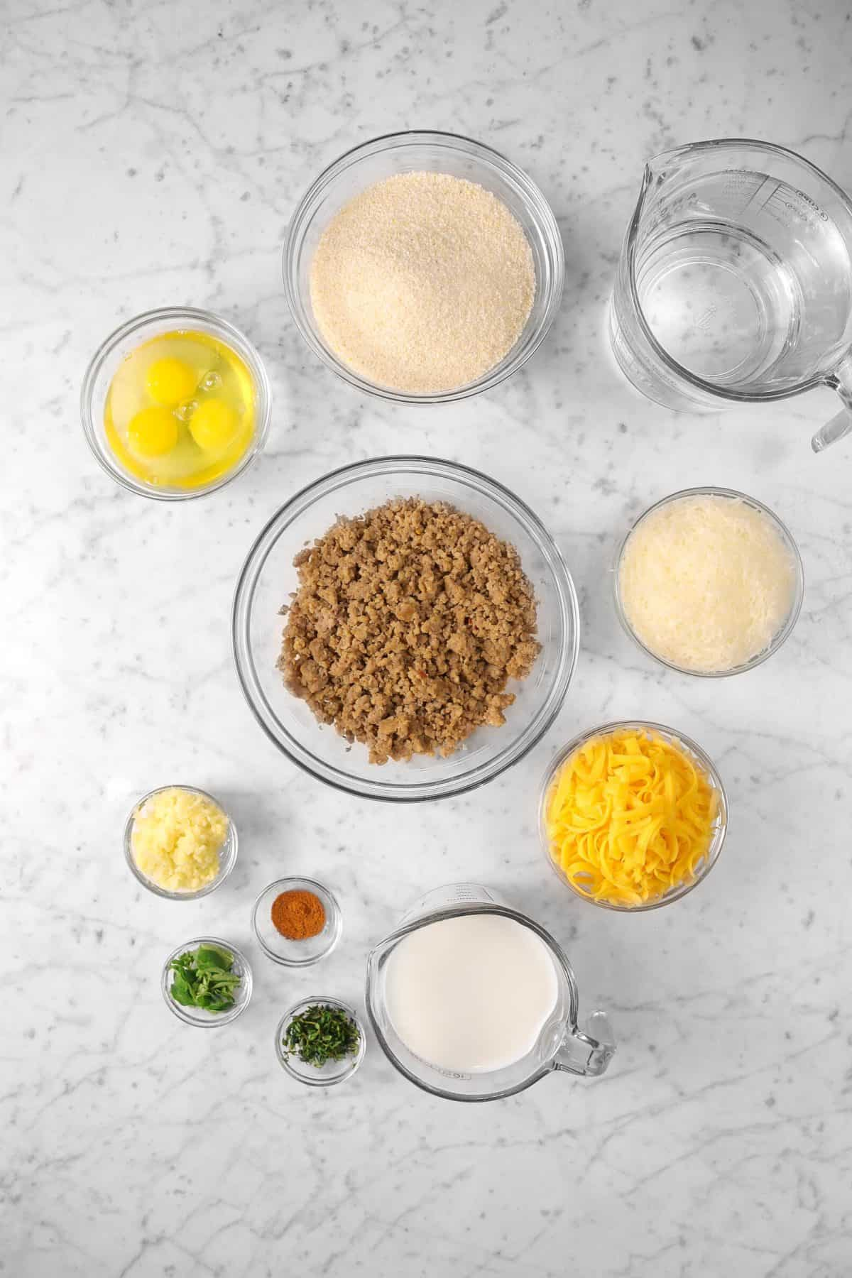 ingredients for sausage and grits casserole