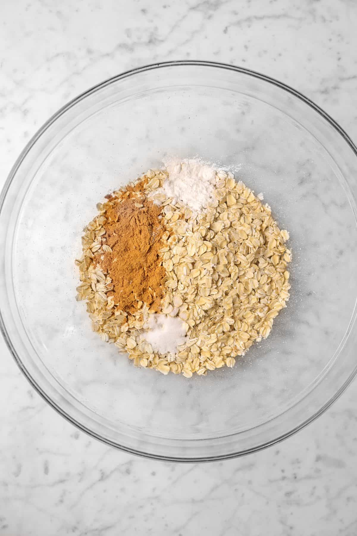 oatmeal, cinnamon, salt, and baking powder in a bowl