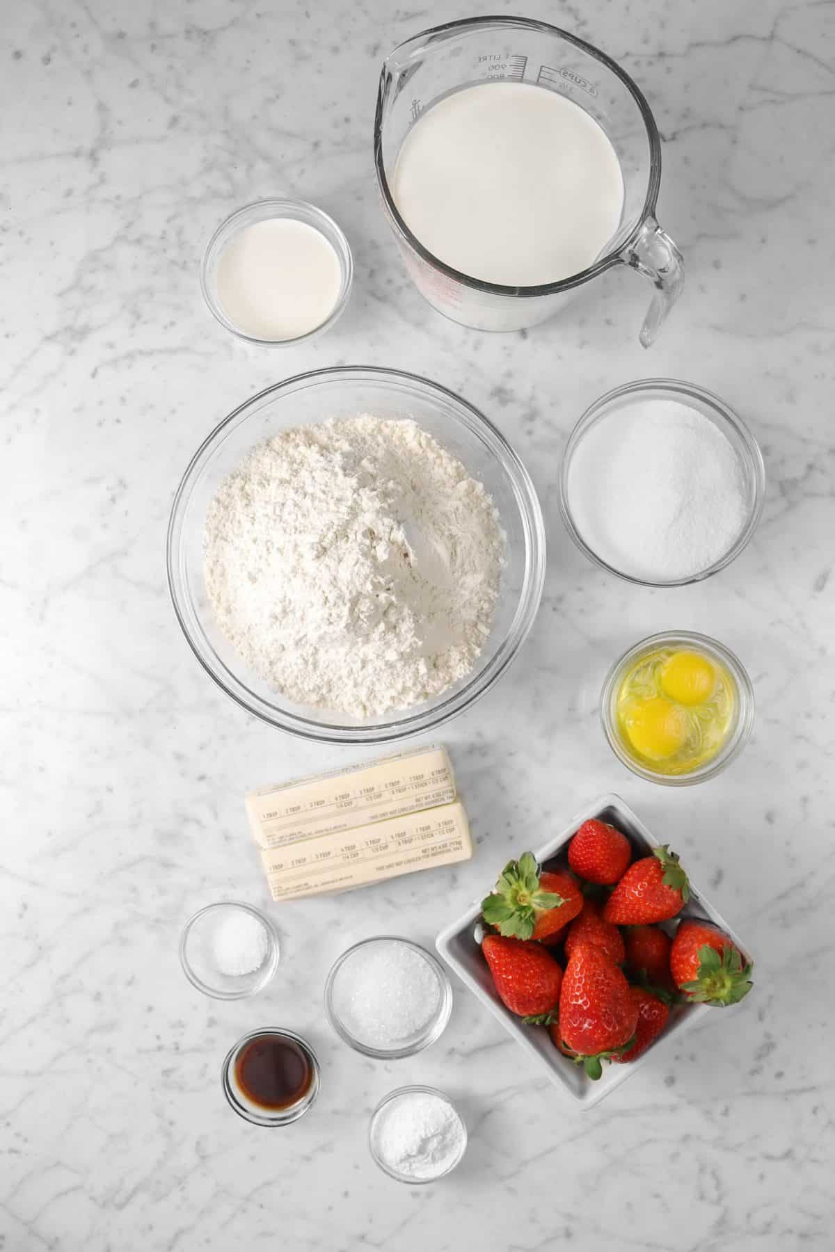 ingredients for strawberry shortcakes