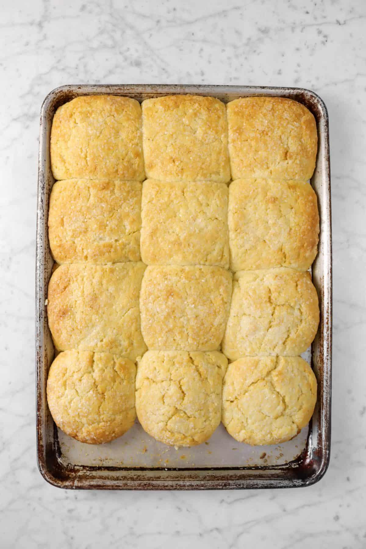 shortcakes baked on a baking sheet