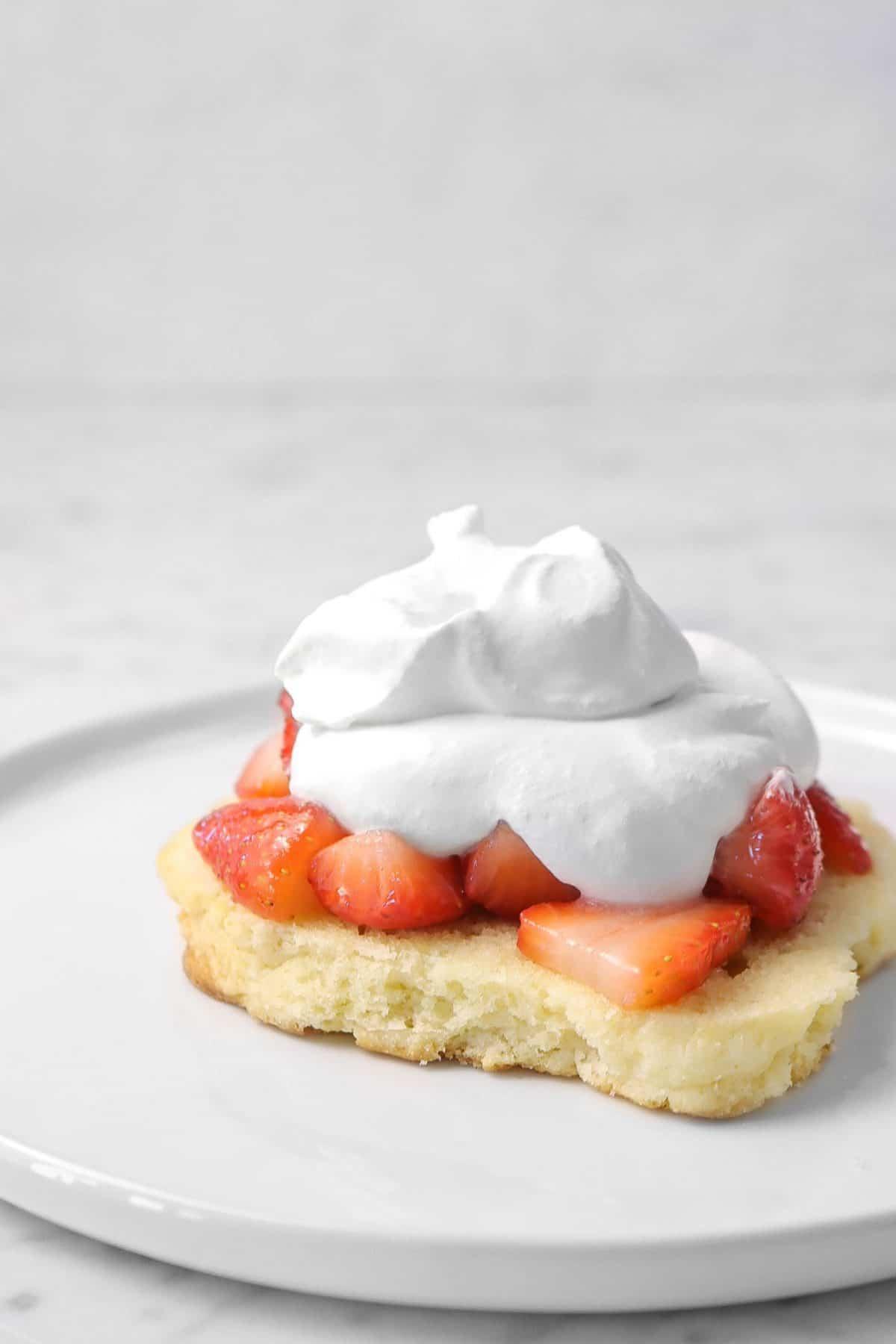 whip cream added to shortcake