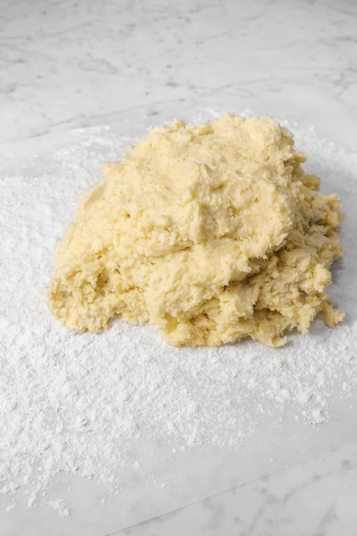 shortcake dough on parchment paper
