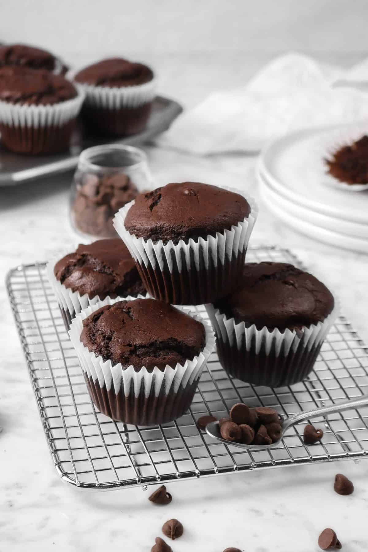 chocolate muffins on a cooling rack with chocolate chips, white plates, a napkin, and a pan of muffins