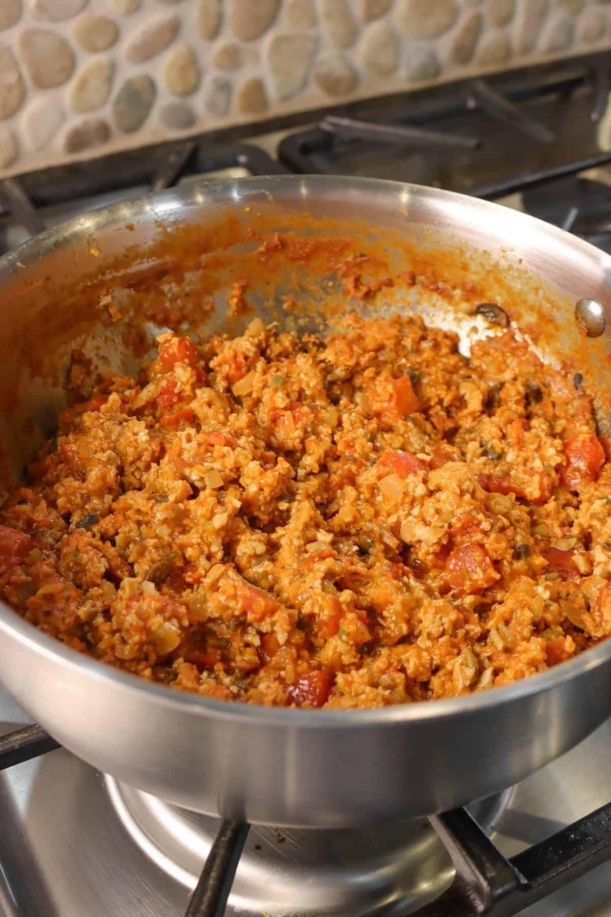 vegan spaghetti sauce in a pot