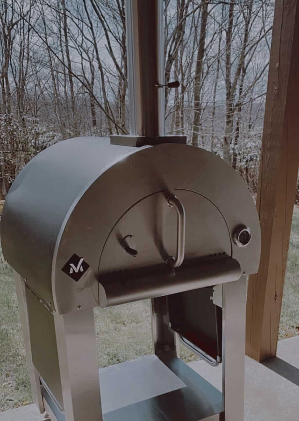 an outside pizza oven