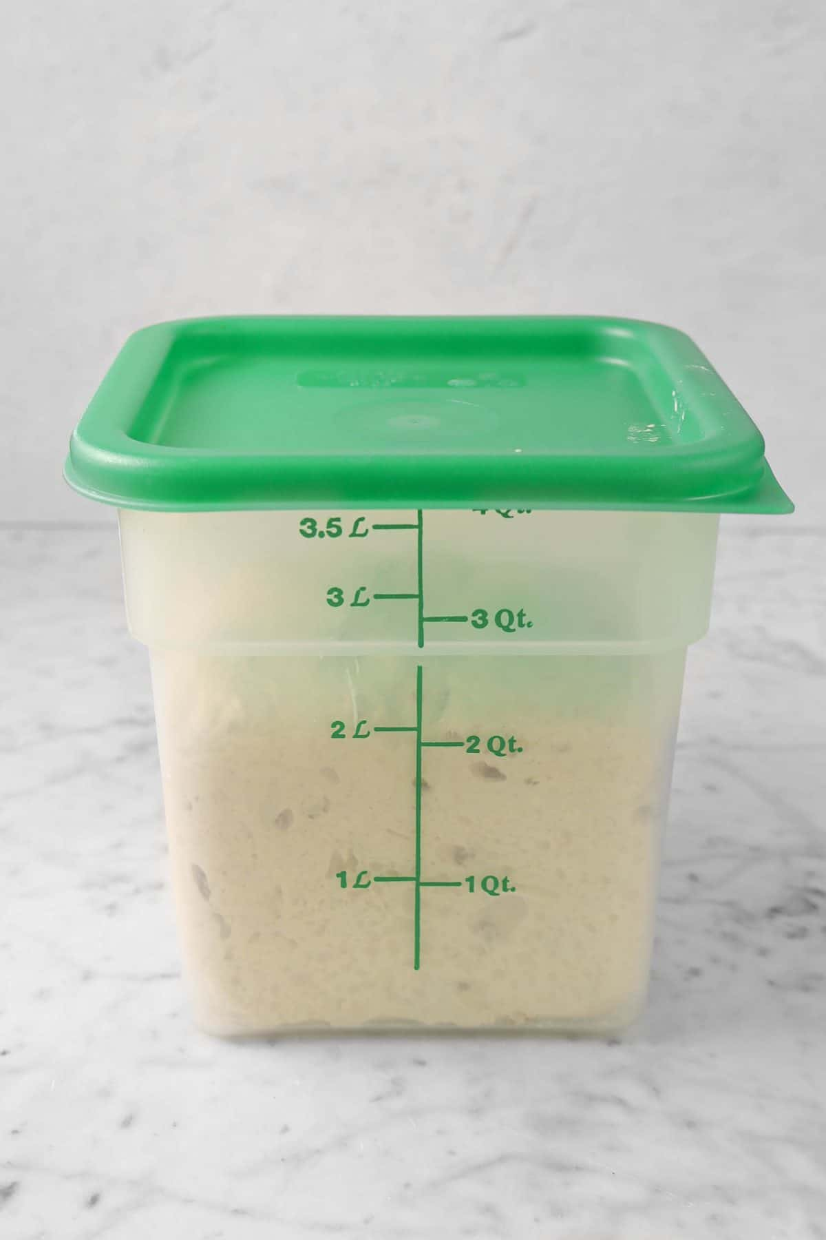 dough doubled in bulk in a green container