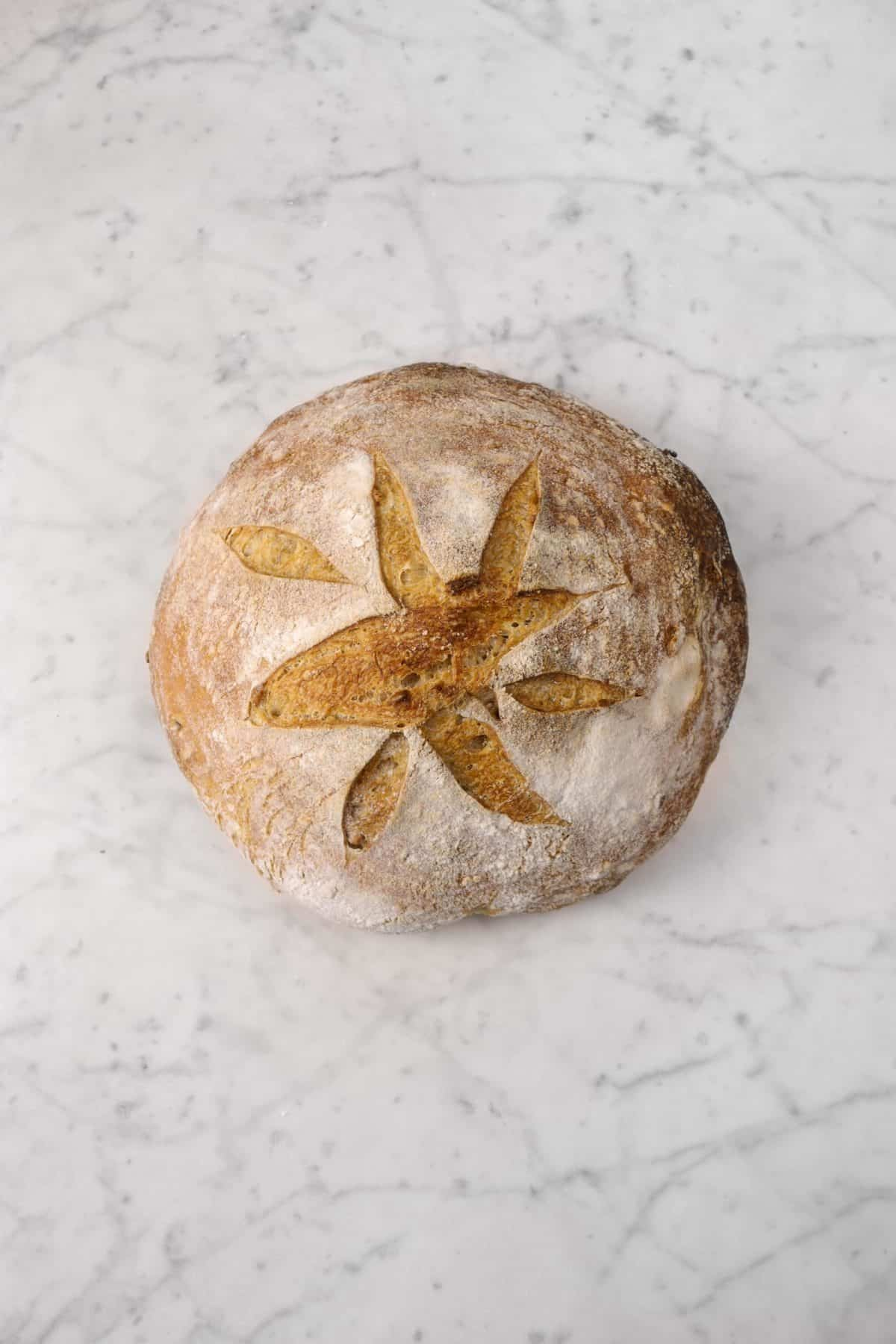 bread on a marble counter