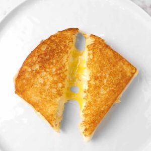 grilled cheese on a white plate that's sliced in half