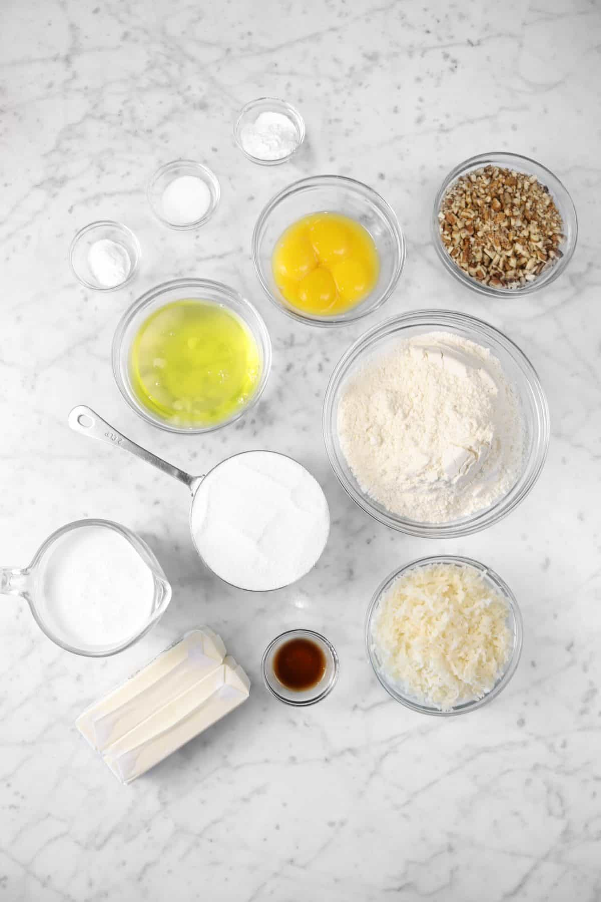 ingredients for italian cream cake on a marble counter