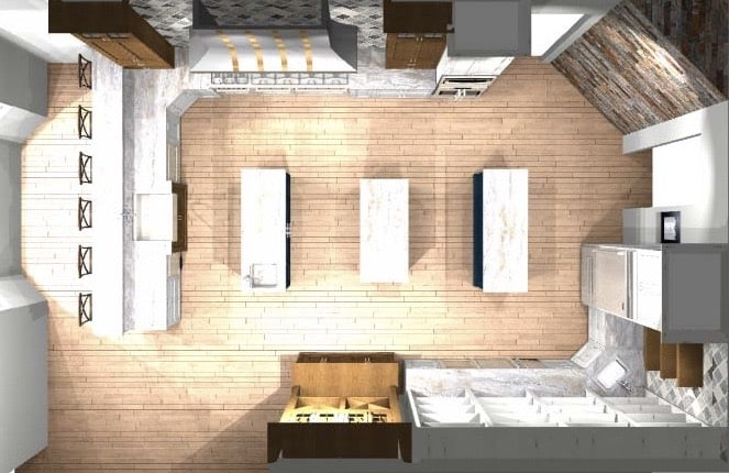 a 3D rendering of a kitchen
