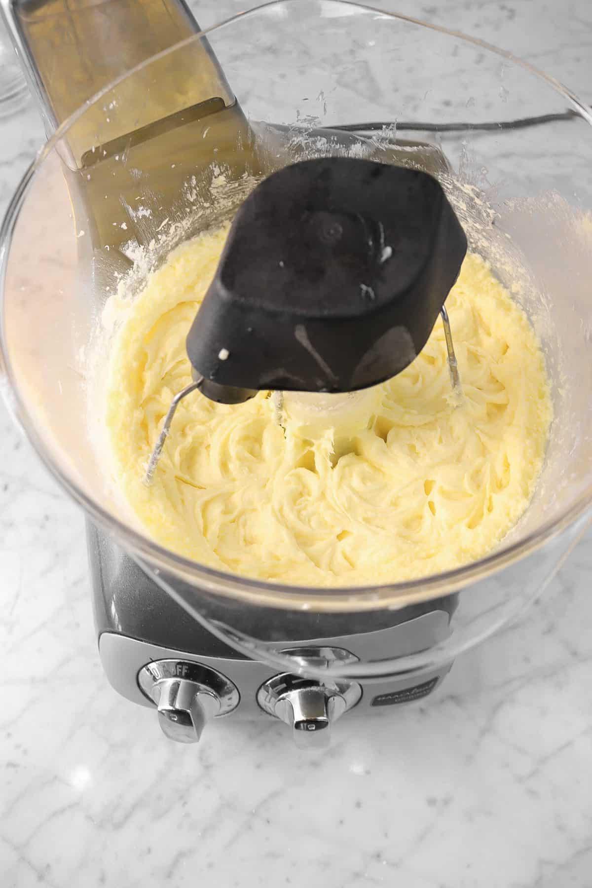 butter, egg, and sugar mixture beaten until light and fluffy
