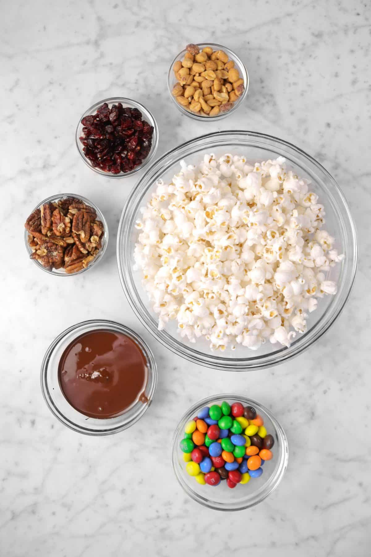 ingredients for a sweet and salty popcorn mix