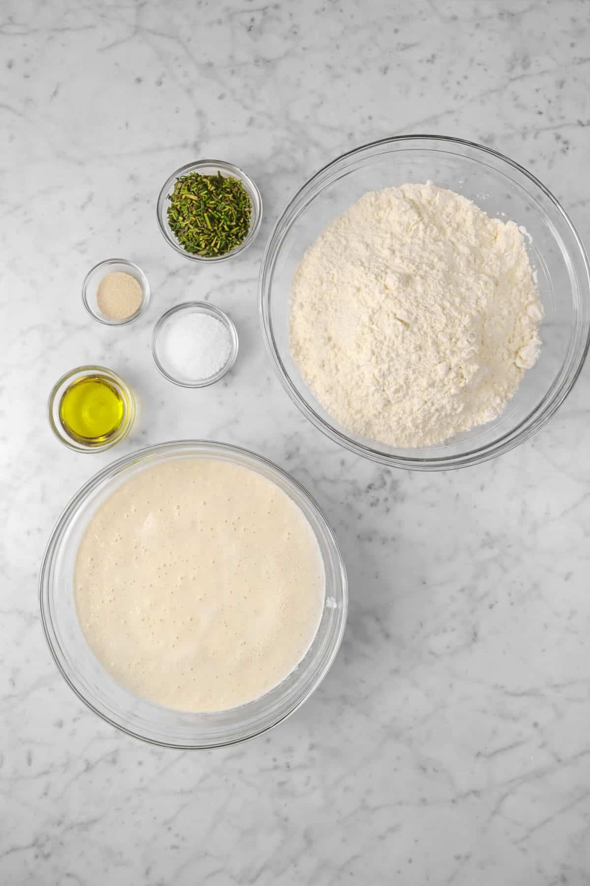 ingredients for sourdough rosemary focaccia