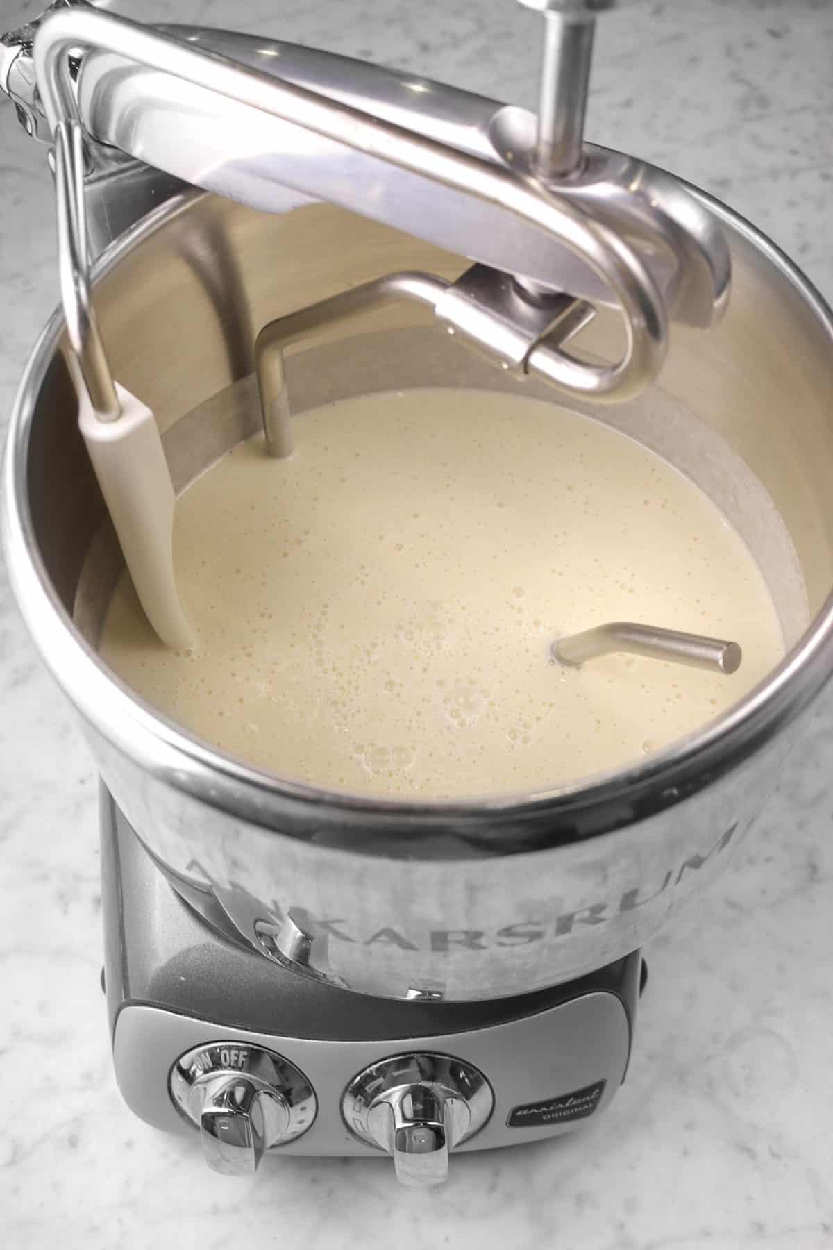 wet ingredients mixed together in a mixer