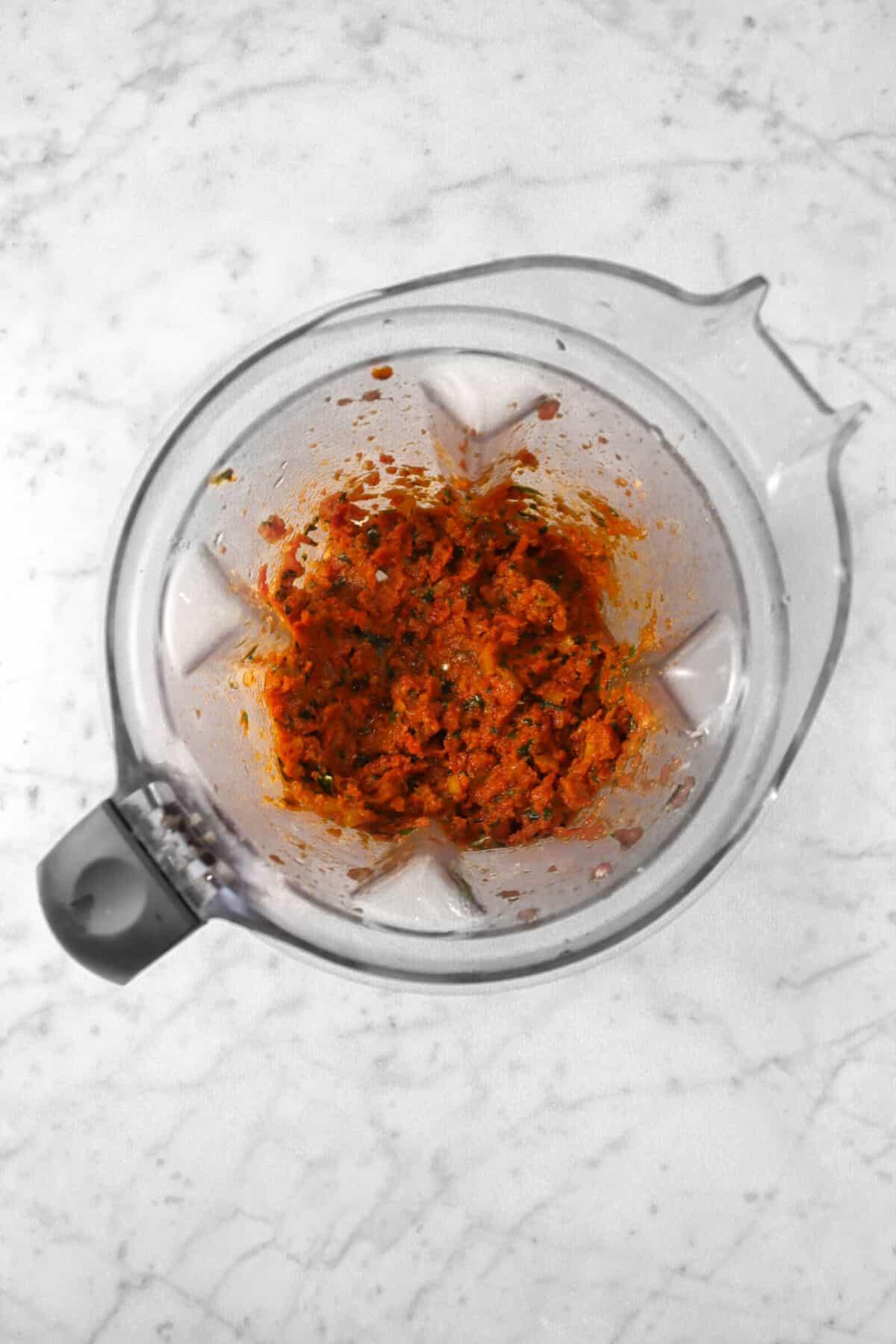 tomato pesto in a blender