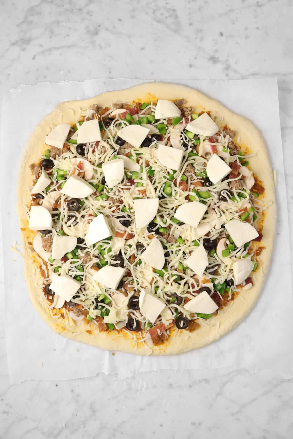 chopped fresh mozzarella added on top of pizza