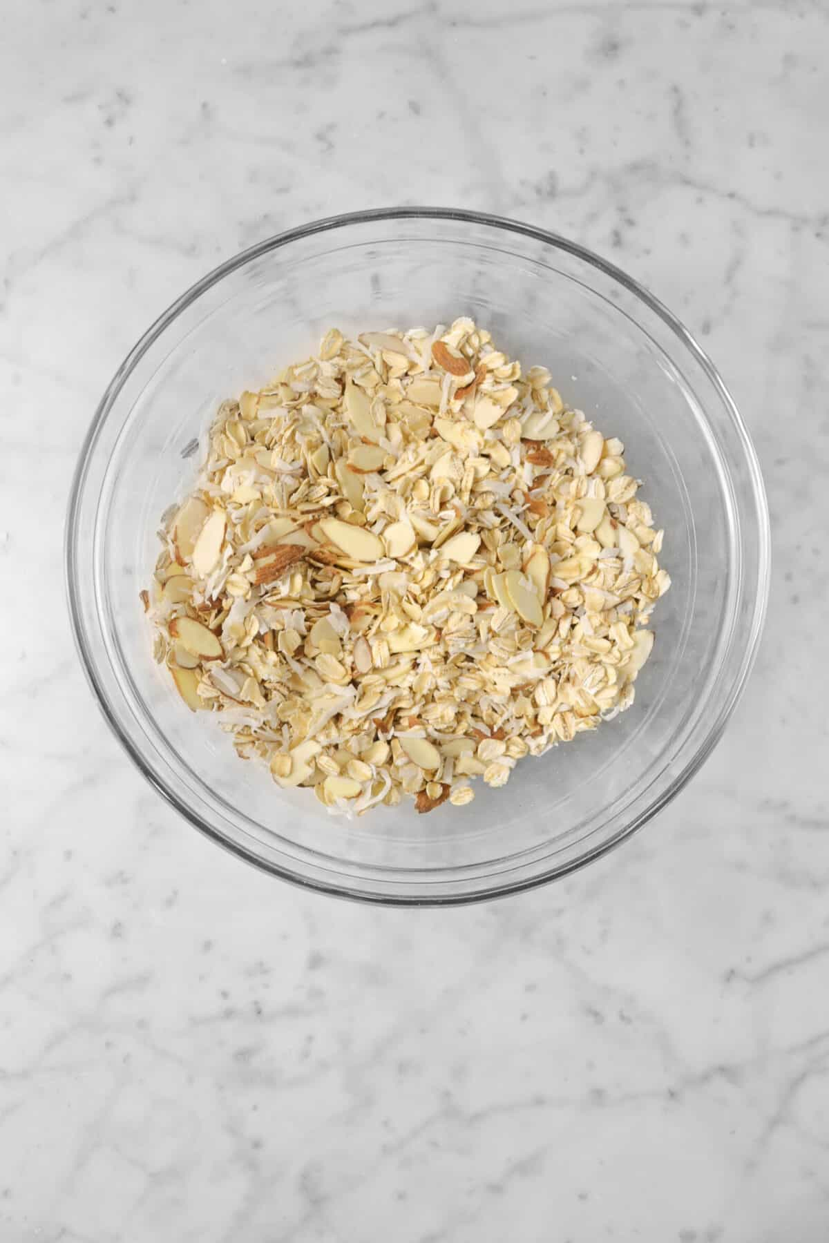 oatmeal, almonds, coconut, and cinnamon mixed together