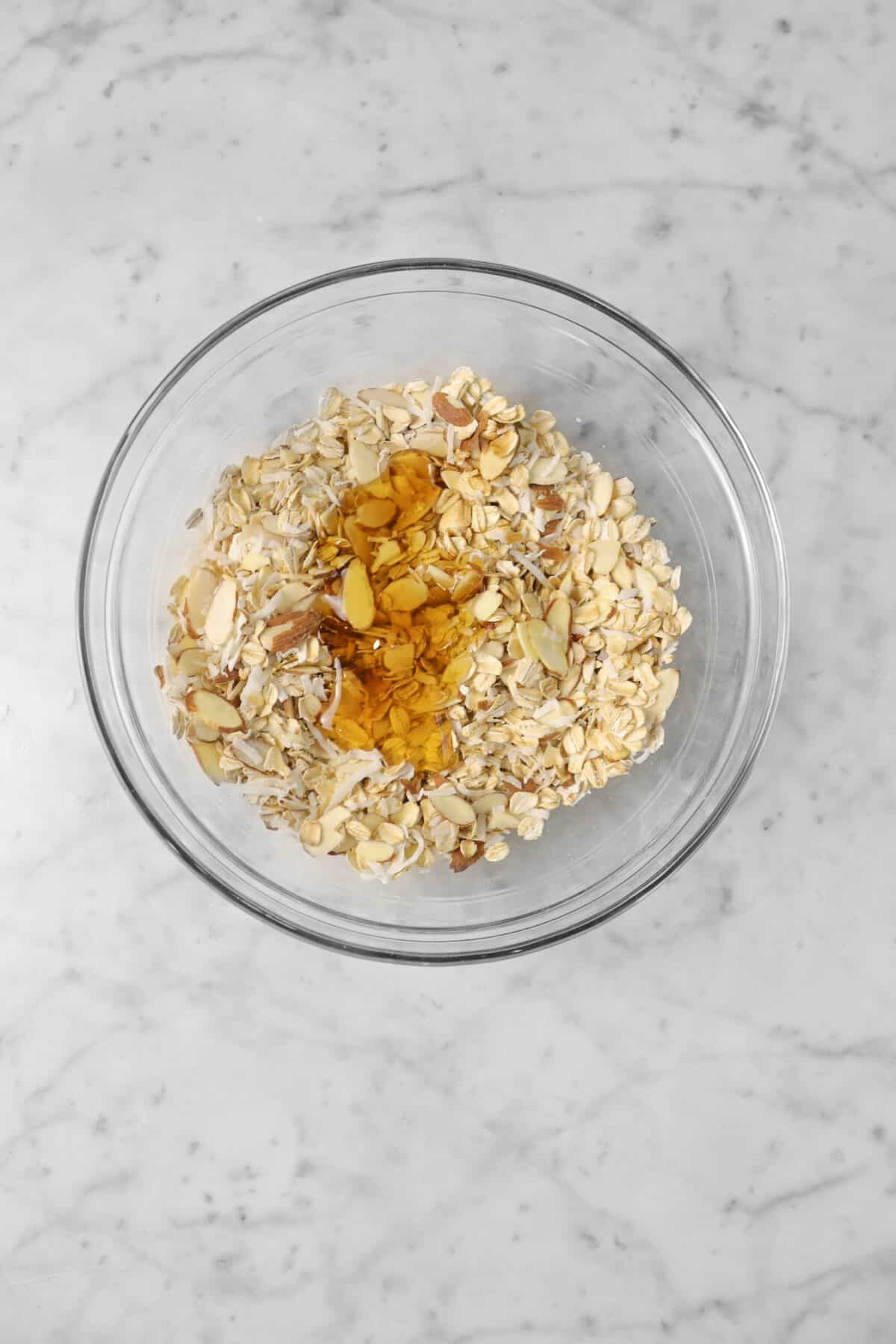 honey and oil added to oatmeal mixture