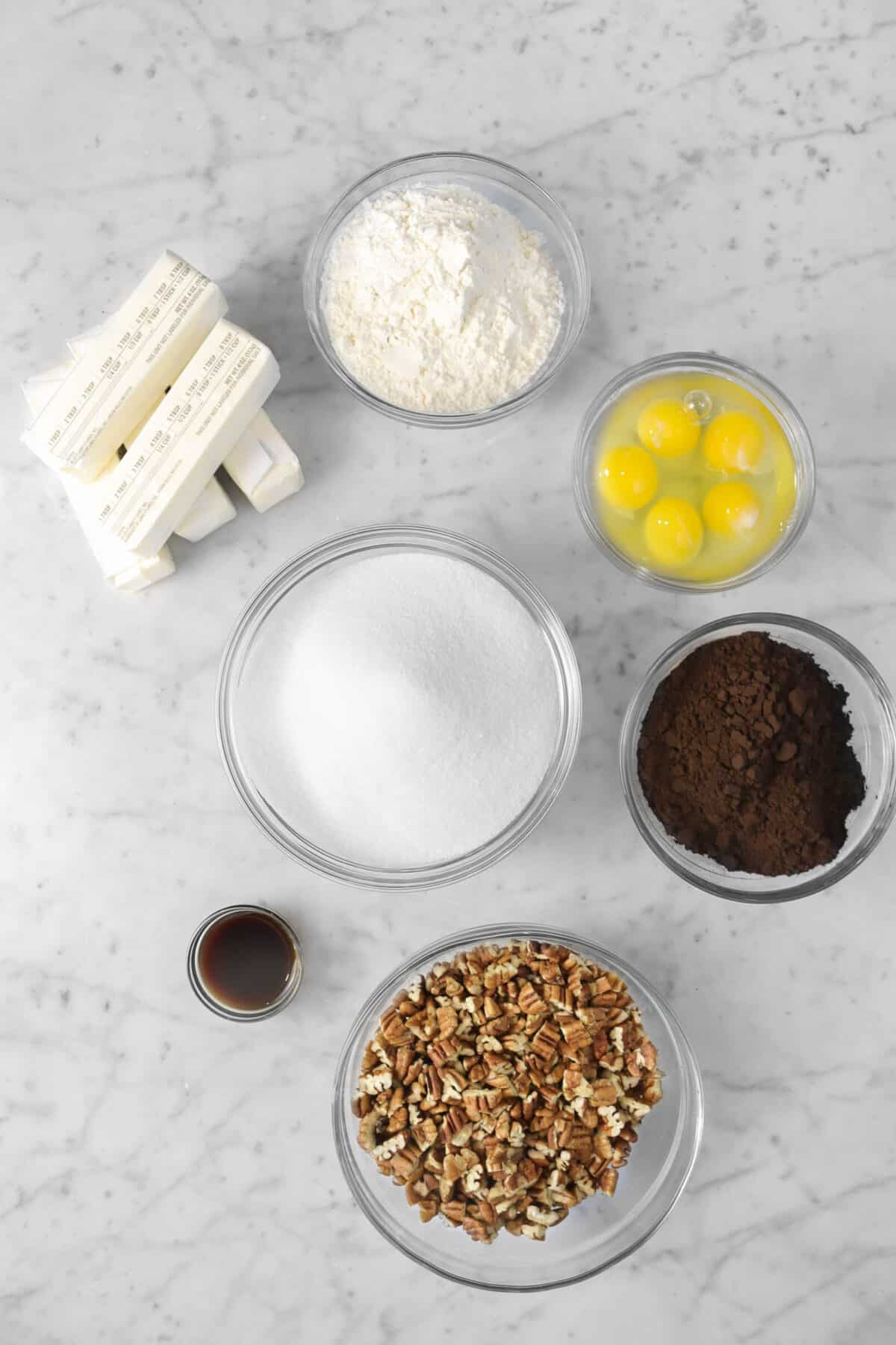butter, flour, eggs, cocoa powder, pecans, vanilla, and sugar in bowls