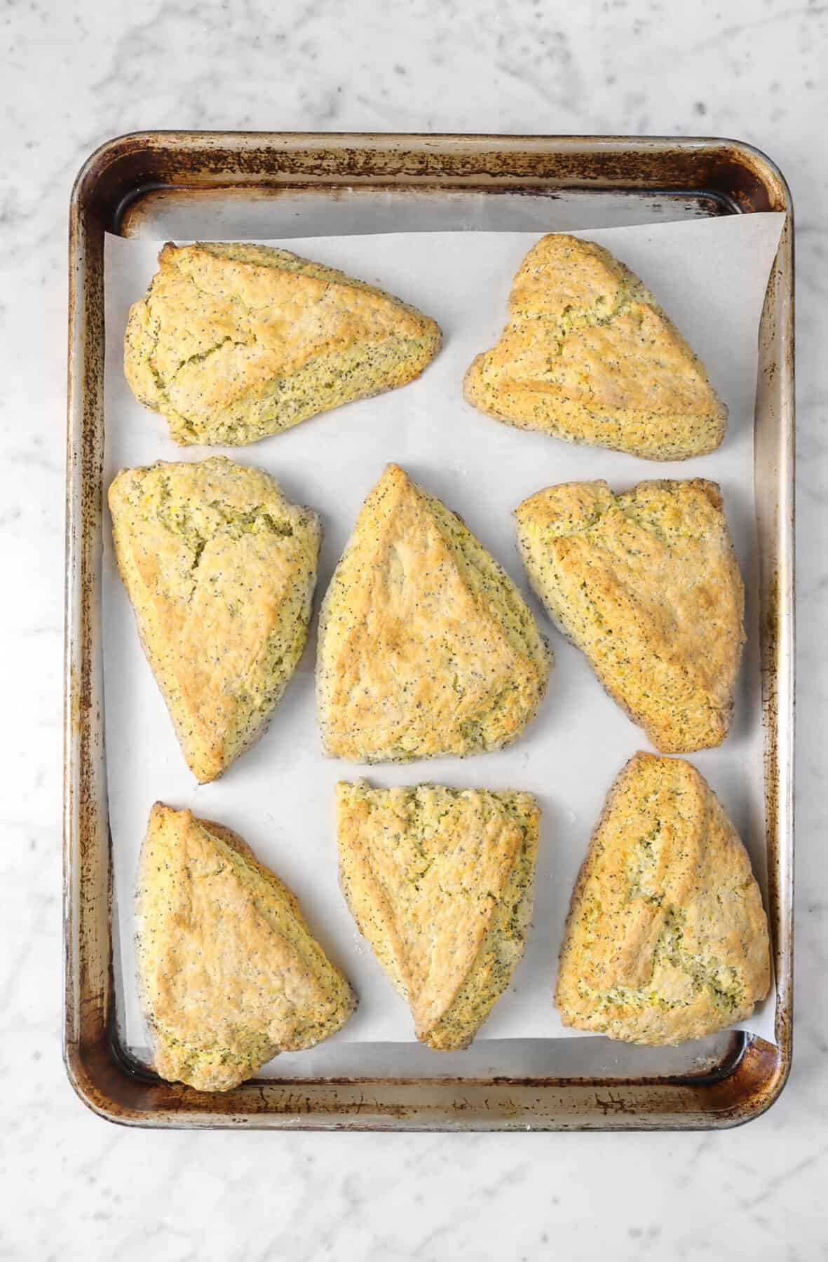 lemon poppyseed scones on a sheet pan