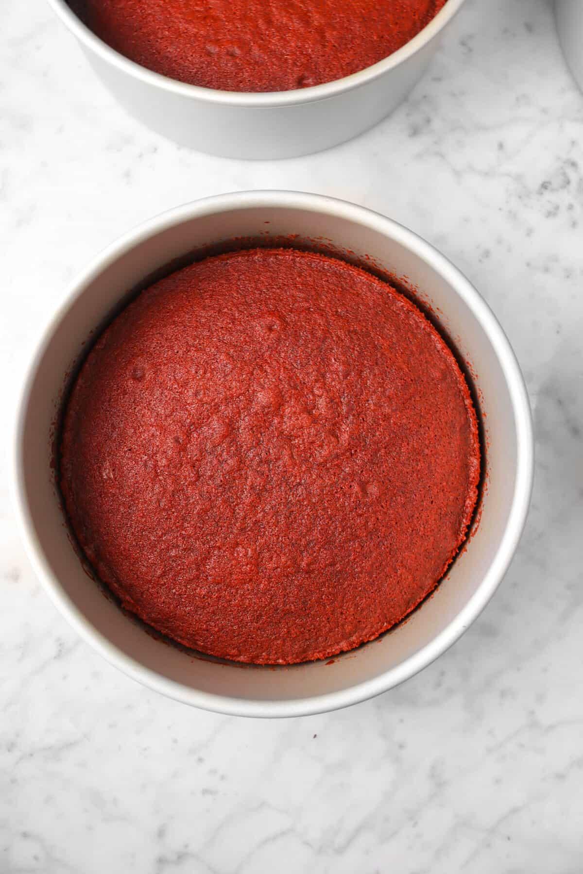 red velvet cake in a circle cake pan